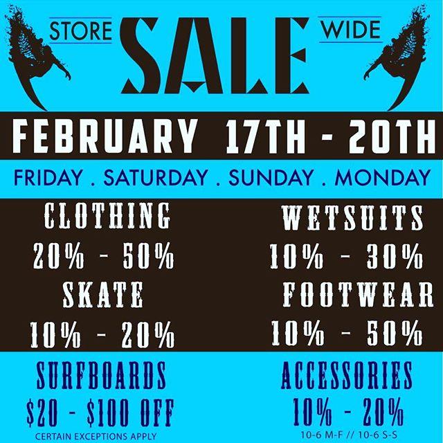 SALE SALE SALE!! #storewide #clairemontsurf
