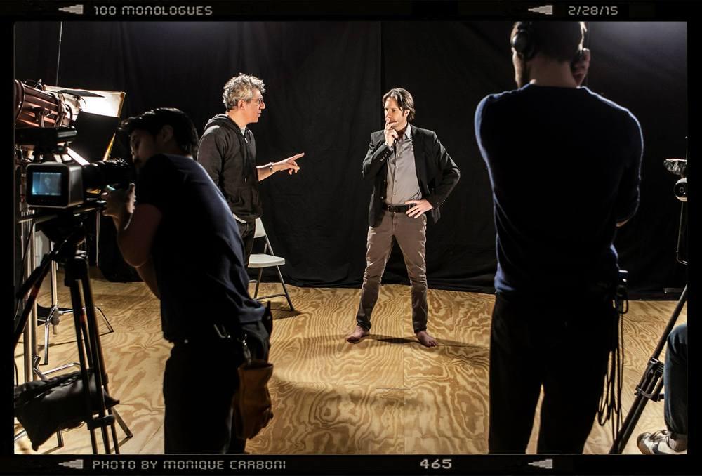 Neo Sora, Eric Bogosian, Josh Hamilton, and John Racioppo on set for 100 Monologues. Photo by Monique Carboni.