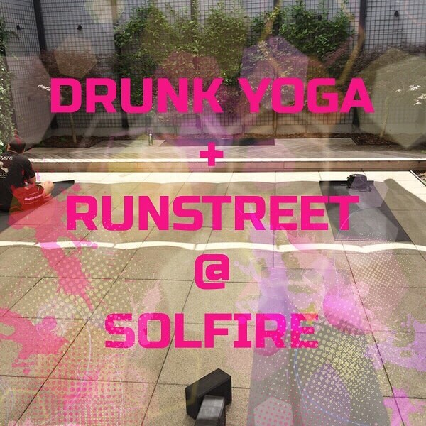 """Do you like art? Running? Yoga? Wine?? Perfect. We've got the perfect event for you.⠀ ⠀ Introducing Drunk Yoga and @runstreet 's first epic collaboration💫⠀ ⠀ 5:30-6:30pm """"Art Run"""" led by Runstreet's Founder, Marnie Kuntz⠀ ⠀ 6:30-8:30pm """"Wine-Down"""" led by Drunk Yoga's Founder, @eliwalkernyc ⠀ ⠀ Event culminates at @solfireclothing in Williamsburg. ⠀ ⠀ DM for more details, and RSVP at www.dodrunkyoga.com/drunk-yoga-classes⠀ .⠀ .⠀ .⠀ .⠀ ⠀ #drunkyoga #dodrunkyoga #drunkyogacommunity #running #inspiration #motivational #yogaclass #instagood #goodvibes #goodvibesonly #drunkyogagirl #yoga #yogateacher #youareenough #empoweredwoman #wine #cheers #winelover #wineoclock #winetime #wineyoga #yogaeverydamnday #drunkyogaeverydamnday #namaste #namasteresponsibly #runstreet #streetart #summerfun #drunkyogaclass #blessed"""