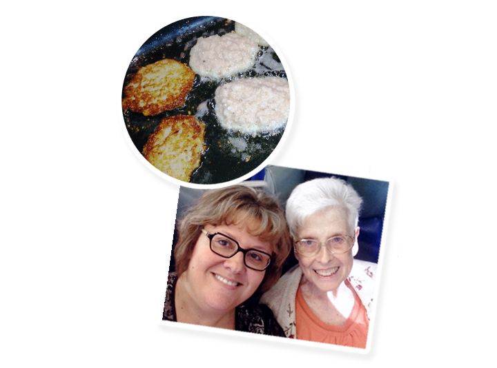 Susan Southerland and her Mother, pictured above Potato Latkes