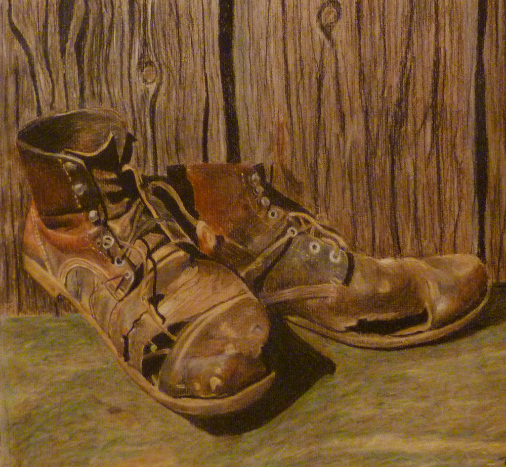 """Leather""_Pastel on Board_20""x20"""