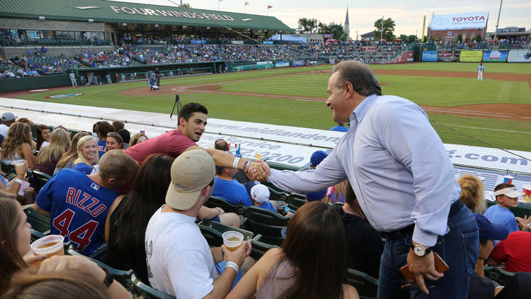 South Bend Cubs owner Andrew Berlin greets fans during the game at Four Winds Field on Thursday, Aug. 25, 2016.  (Antonio Perez / Chicago Tribune)