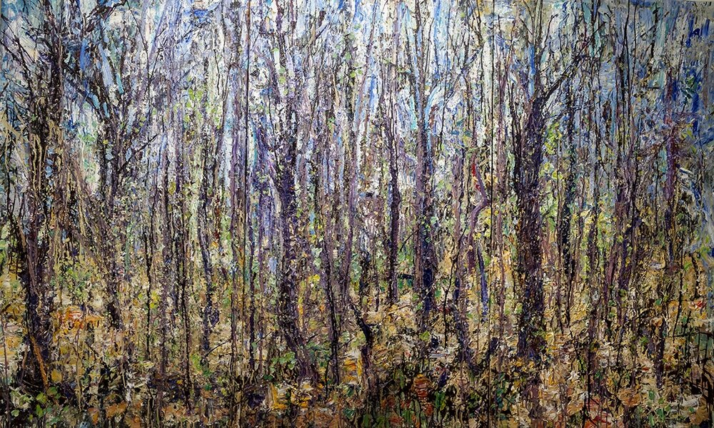 "Forest 5-5-11    2011 acrylic and collage on canvas, 72""x120""  $35,000"