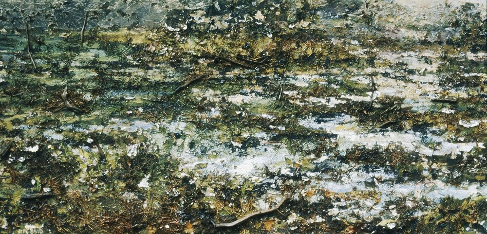 "Gatineau Swamp    1983, acrylic, paper, aluminum, branches and grass on canvas 57""x108""  Collection of Art Gallery of Hamilton"