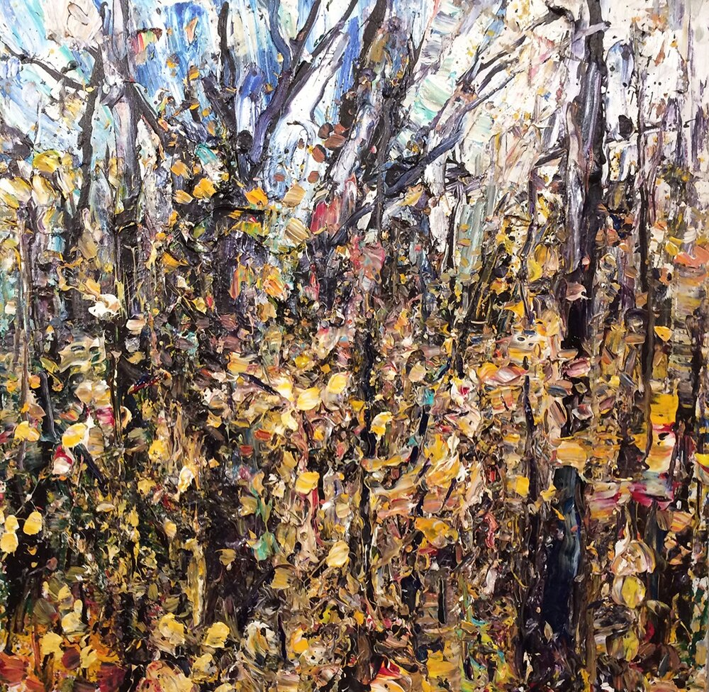 "Forest 11-10-11    2011, acrylic on canvas 30""x30""  $4,200"
