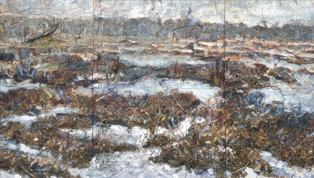 "Mere Bleue Bog 1    1983, acrylic, glass granules, branches and metal on plywood 64""x112""  Collection of Canada Council Art Bank"