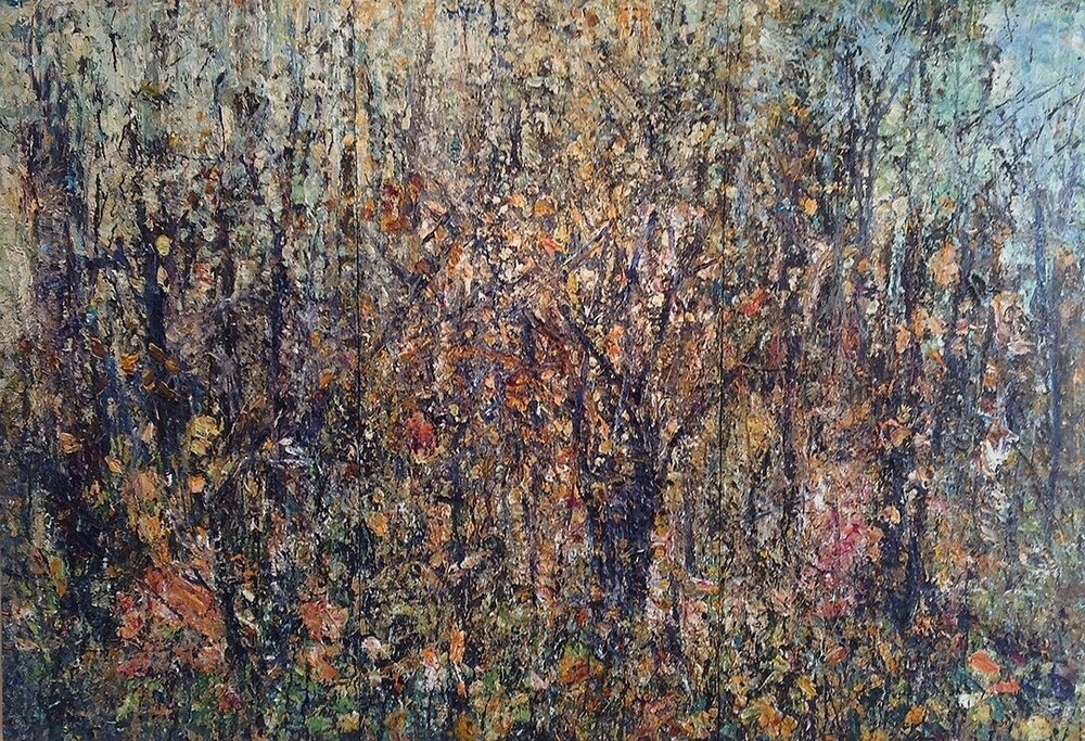 "Feral Orchard 1-11-13    2013 acrylic & collage on plywood 72""x105""  $37,500"