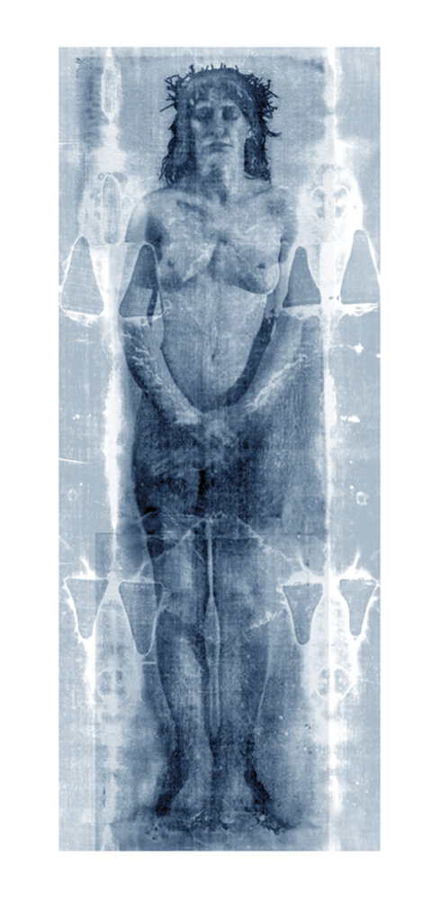 "Shroud  cyanotype print on raw silk, 60""x 28""  Sheryl Maree Reily                              2009"