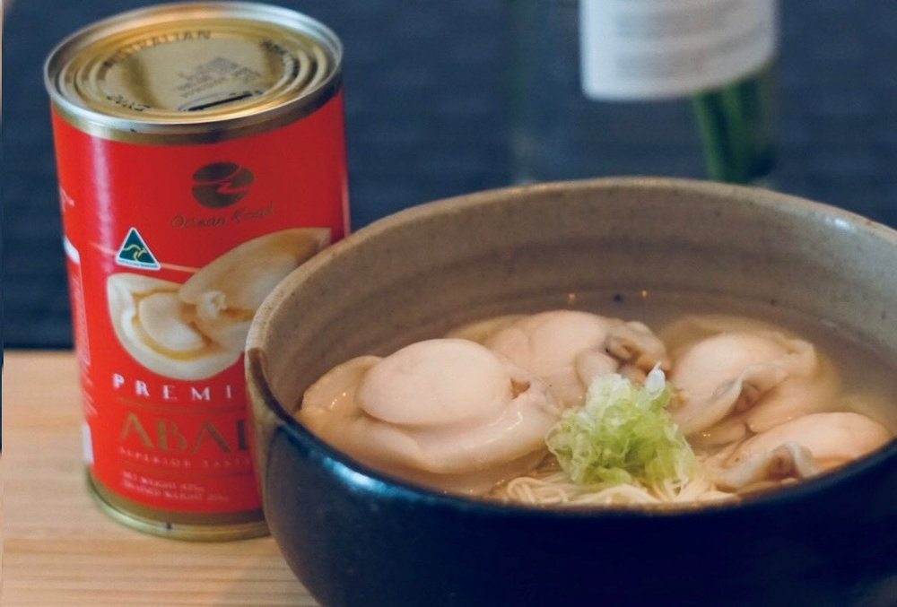 ABALONE AND CHICKEN SOUP WITH CHINESE NOODLES