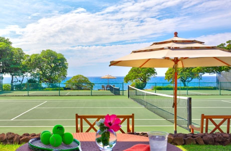 Mauna Kea Resort's  award-winning Seaside Tennis Club, located on the grounds of Mauna Kea Beach Hotel, features 11 hard-surface courts, an open-air lanai with breathtaking ocean views of the Pacific