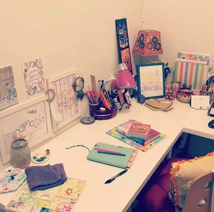 Moved into the alcove, and did a little office makeover, to fit both my creative and business needs!