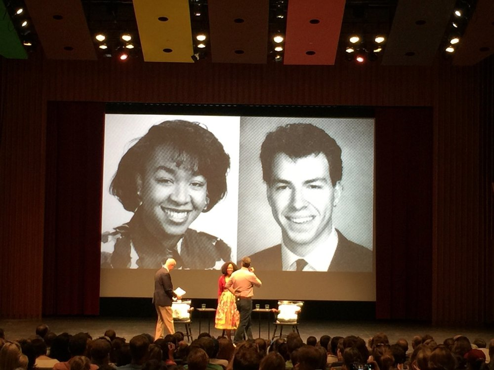 Jake Tapper and Shonda Rhimes, two of our most prominent '91s, getting ready for a conversation on stage with Dartmouth College President Philip J. Hanlon '77