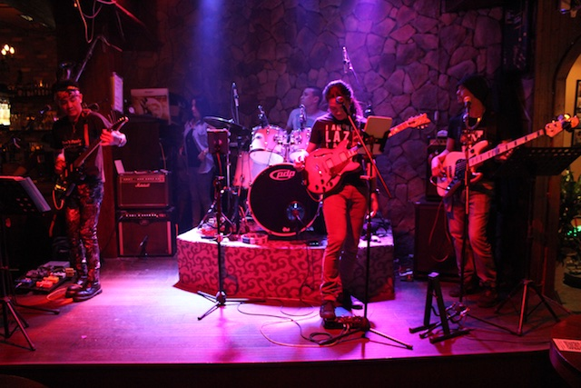 Eagle Bar Band on May 4 2017. L-R: Marvin, Ama (in back), Carlos, Jerlon, and Kenneth