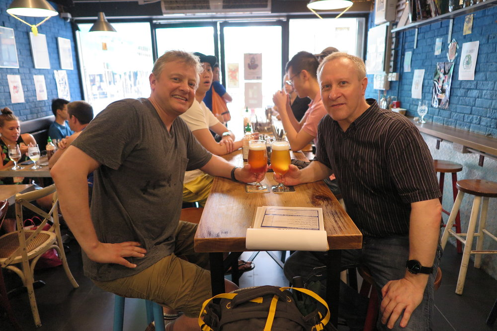 Catching up with old zhongguo tong mate Avron Boretz in a craft beer pub in Mong Kok, Kowloon