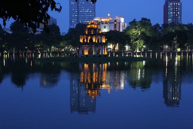 "The ""Tortoise Tower"" in the middle of ""Sword Lake"" in Hanoi"