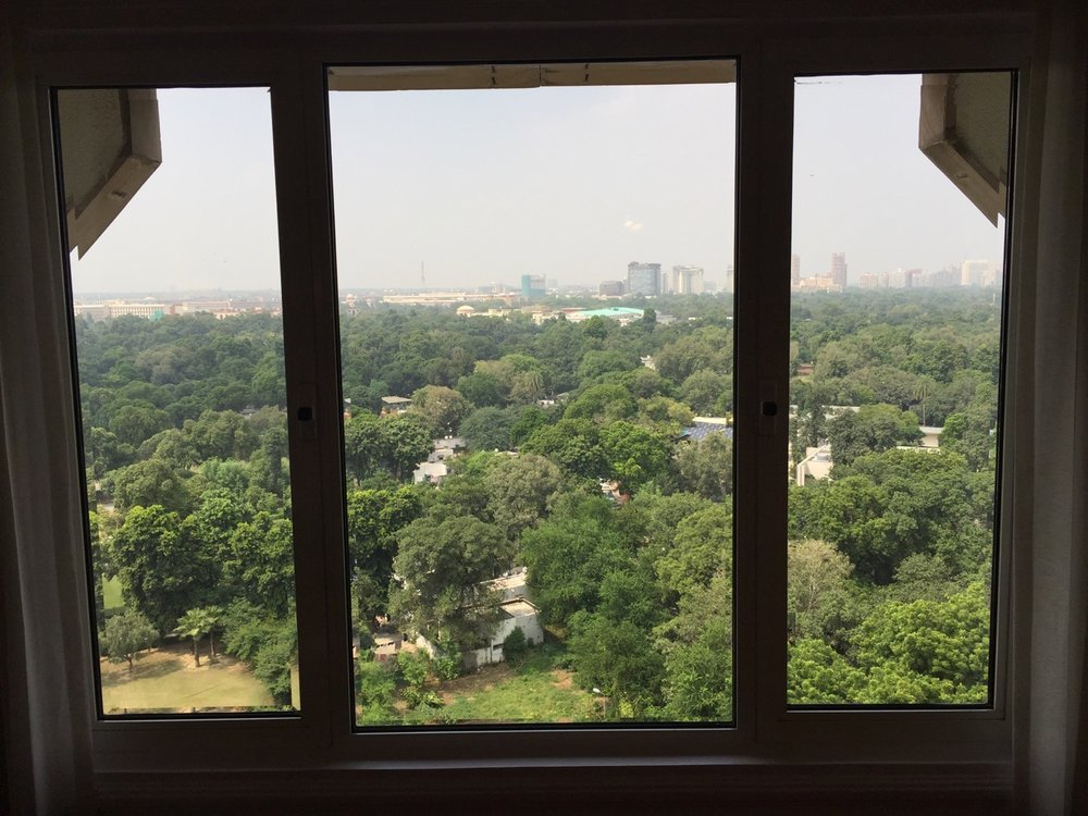 A room with a view: from the window of the Taj looking out on Delhi