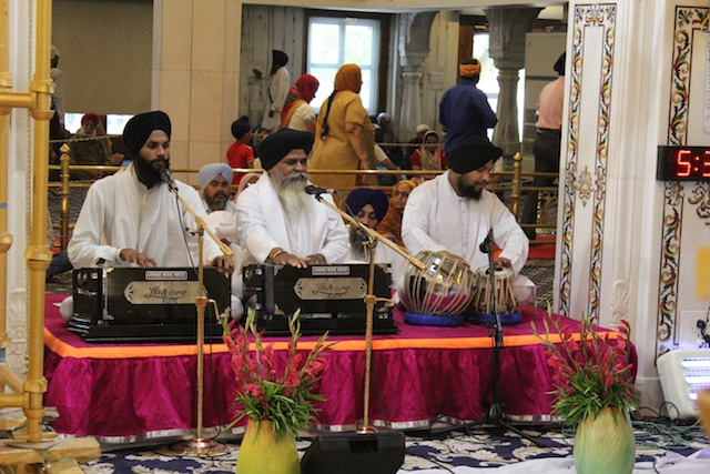 The musicians perform at the Bangla Sahib in Delhi