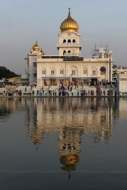 The Bangla Sahib temple and its reflection in the pool