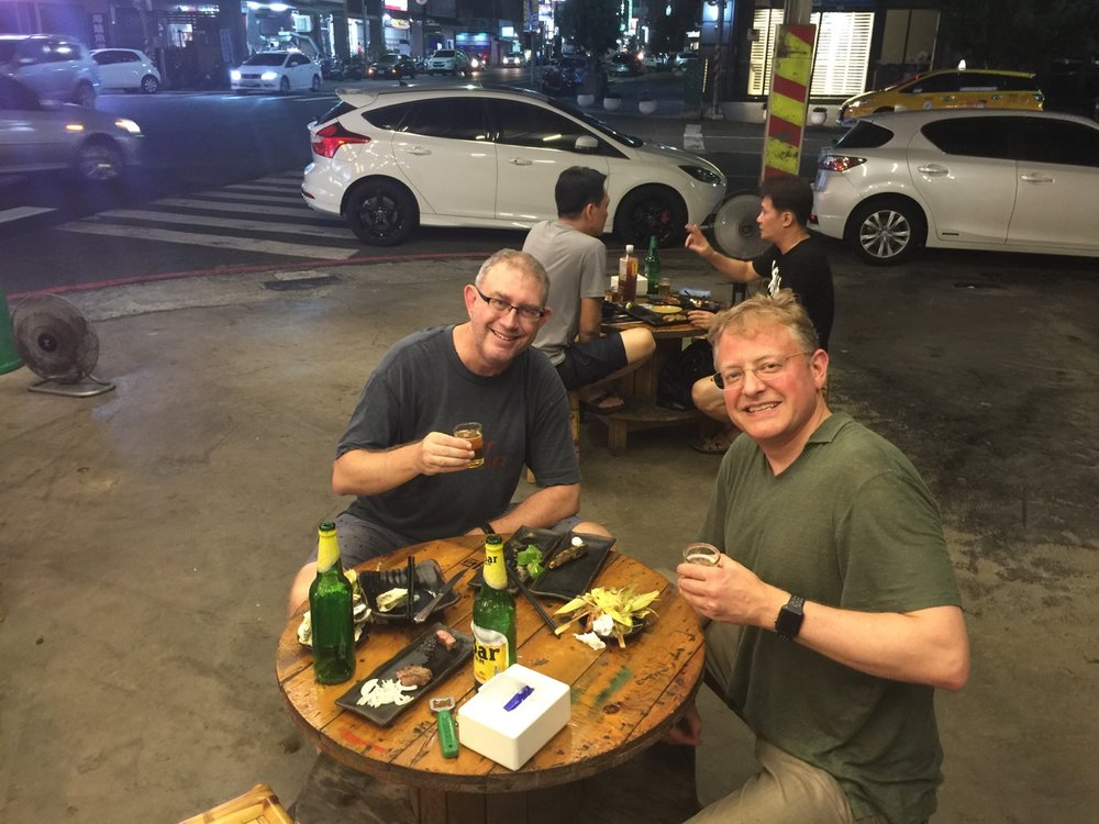 Carl Thelin and I had a nice meal at the local car wash in Kaohsiung