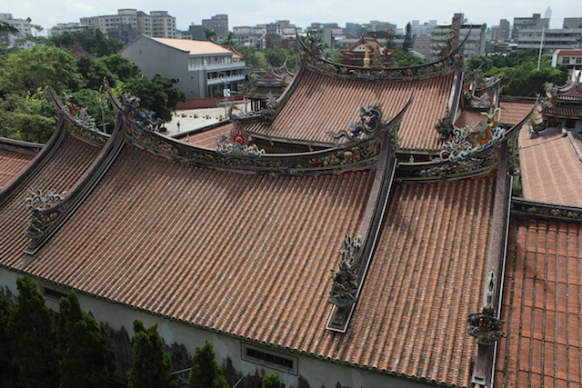 Looking down over the rooftops of the Bao An Gong temple in Taipei