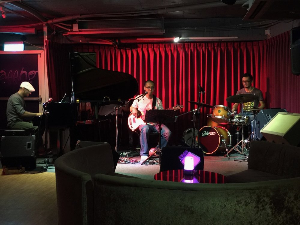 The trio at the Sappho jazz bar