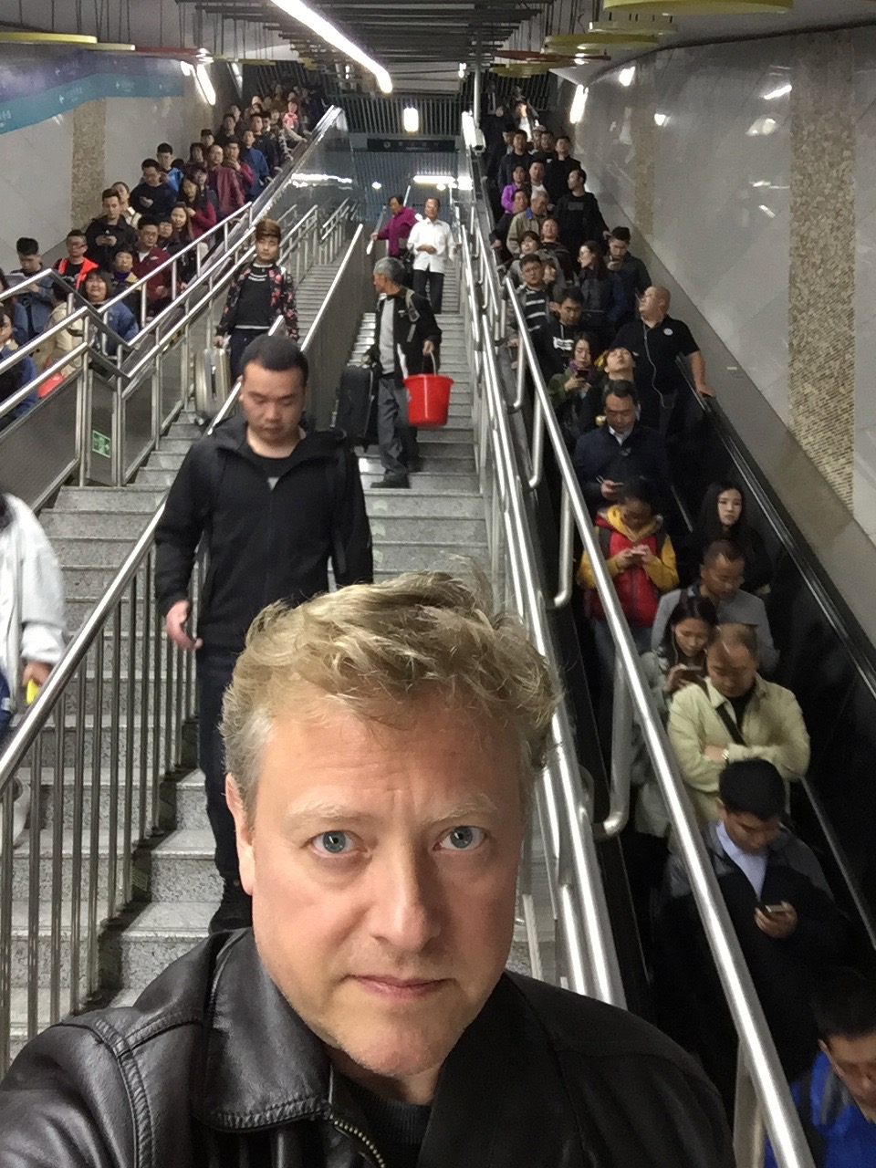 In the bowls of the Beijing subway system. I prefer the stairs to the escalators--better for fitness.