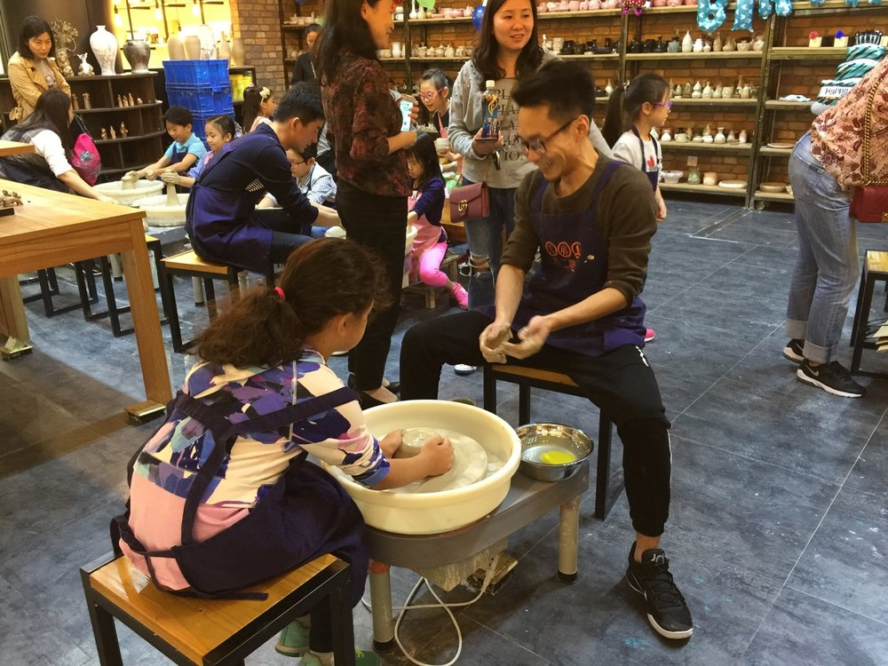 A pottery making shop in a Shanghai mall next to Jing'an Park, where Hannah and her classmates had a birthday party. Cities are always full of fun surprises.