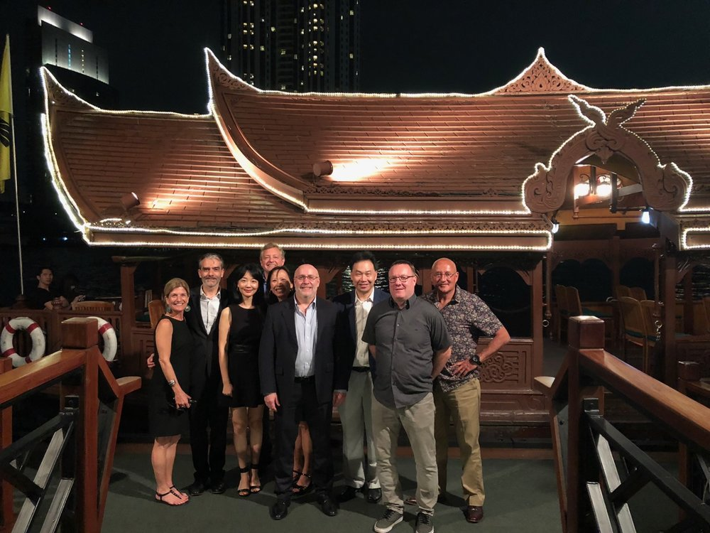 Members of the Shanghai American School about to embark on a boat on the Chao Phraya River, during the EARCOS conference in Bangkok. Our fearless leader Marcel Gauthier is front and center.