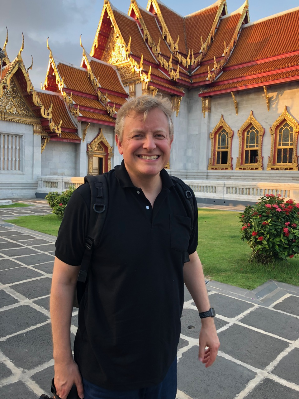 In front of the White Marble Temple, wearing black in honor of the King's cremation ceremony (which happened on the 26th)