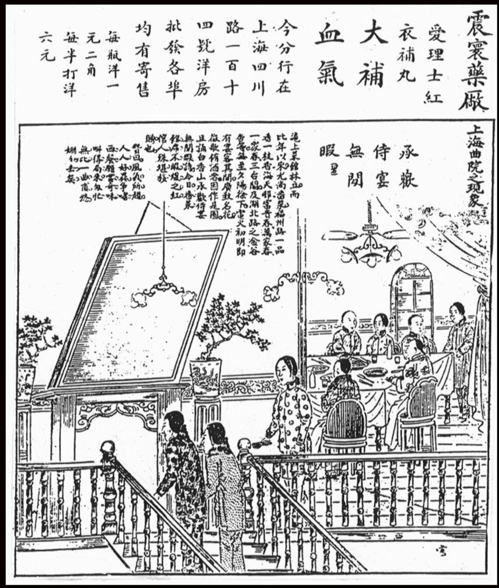 "Courteans and male customers gather for a dinner party at a fancy western restaurant (note the plates, knives and forks and the square table) at the Yipinxiang or ""sweet fragrance"" hotel on Fuzhou Road, from an illustrated newspaper of the late Qing period (see Catherine Vance Yeh, Shanghai Love)"