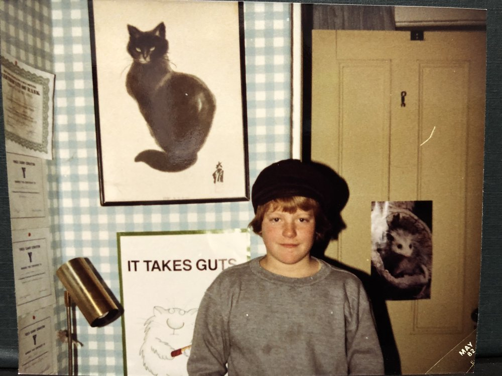 My junior high pal Scott Egan, taken in my bedroom on Windsor Ave in 1982. I still have that cat ink painting on my wall today.