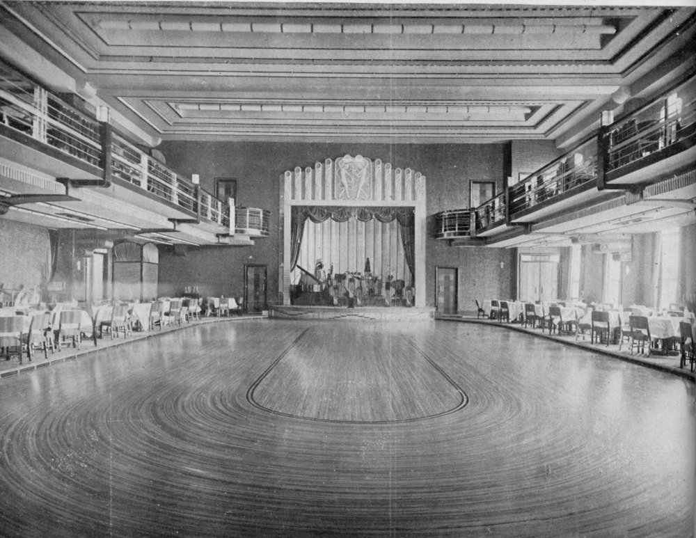 The main dance floor of the Paramount Ballroom, which was built on cantilevered springs. From an architectural journal of the age.