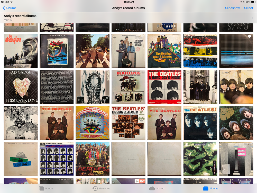 A snapshot of my record album collection from my youth, of which the Beatles occupy a sizable proportion