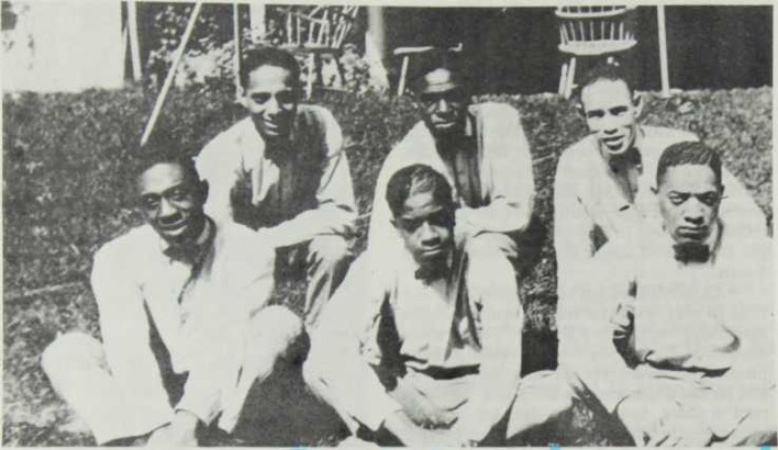 Above: Jimmy Wade's Syncopators, Chicago, 1922. L to R: Back Bill Dover, tbn; Teddy Weatherford, pno; Edwin Jackson, dms. Front: Vernon Roulette, sax; Eddie South, vln; Jimmy Wade, tpt. Photo courtesy of Edwin Jackson.