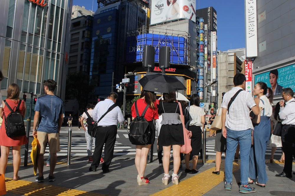 Outside Shinjuku Station, one of the most labyrinthine and crowded stations in the world