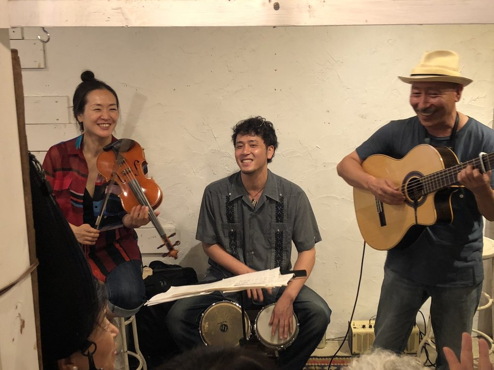 Sayaka, Genki, and Mucho at the Navy Yard in Kamakura—Buena Vista Social Club in Japan!