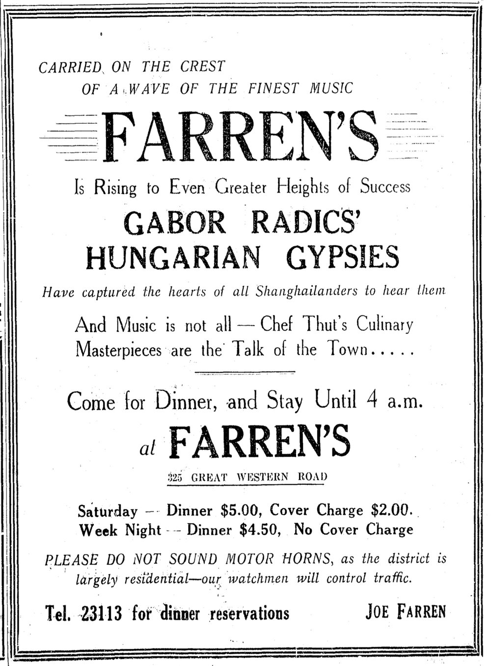 An ad for Farren's that appears in the  China Press  27 June 1937