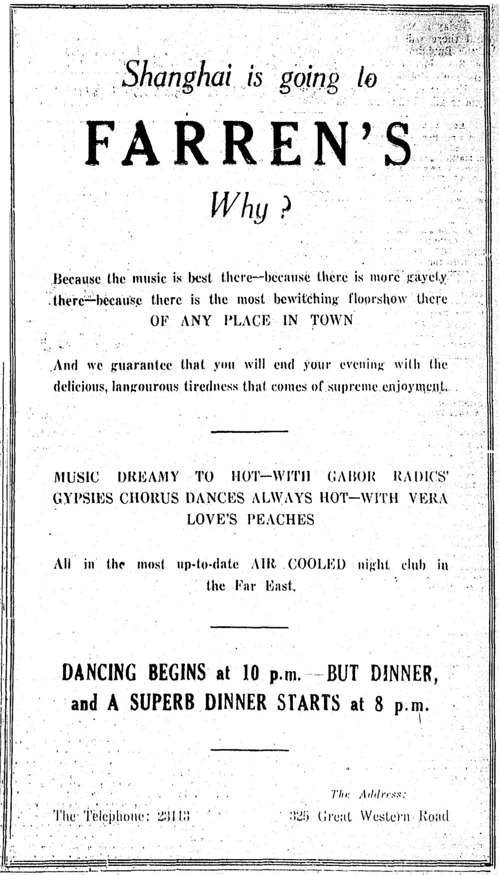 Ad for Farren's nightclub appearing in  the China Press  on 27 June 1937