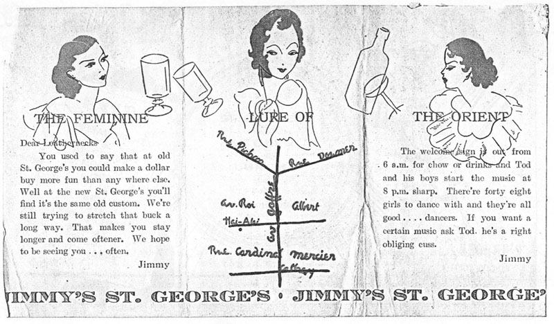 A brochure for the St. George's cabaret run by Jimmy James, who also ran a restaurant in town (source: scrapbook of US 4th Marine from US Navy Yard)