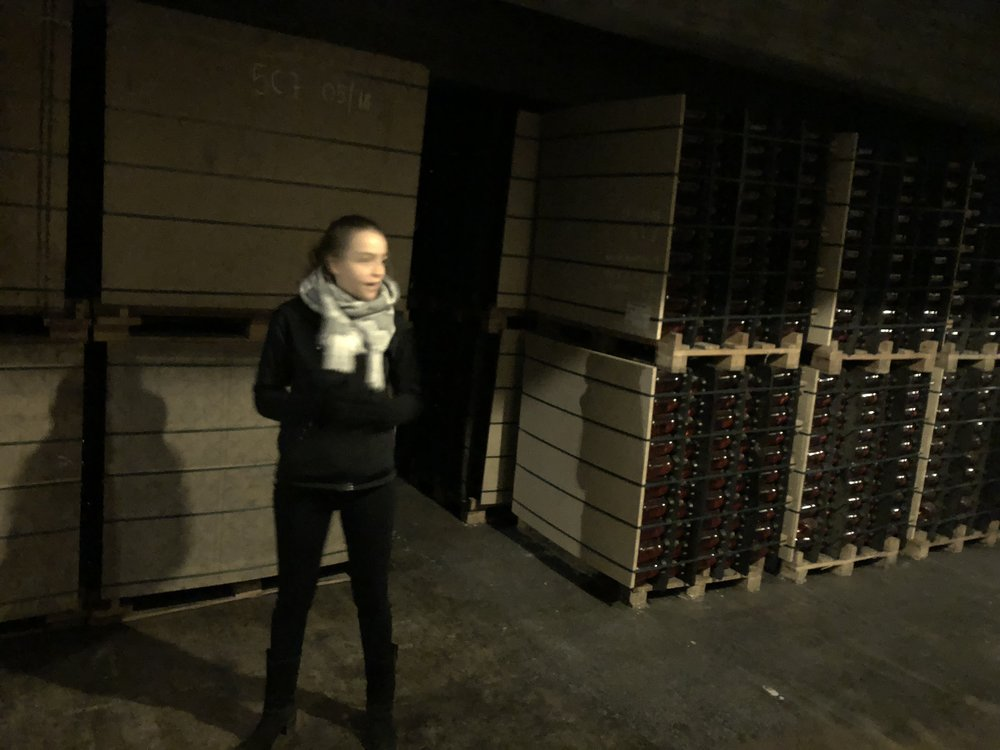 "A tour of the cava by ""train"" —this young woman was our driver"