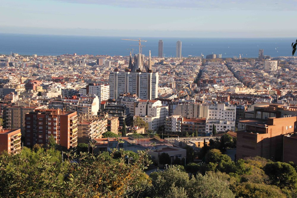 The gorgeous view of Barcelona from Park Guell, where you can see the cranes above Sagrada Familia as well as the Barcelona Arts Hotel facing the Mediterranean