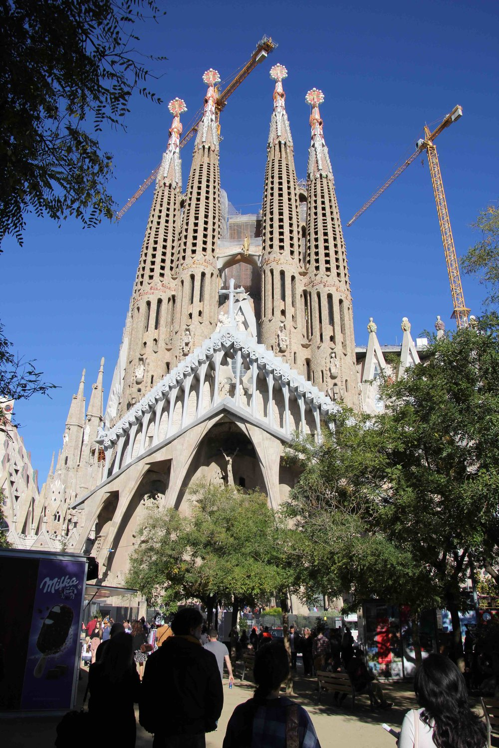 Looking up at the passion side of La Sagrada Familia from the lovely park next to it