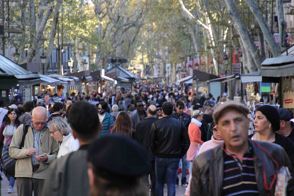 Las Ramblas—watch out for pickpockets, or so we are told
