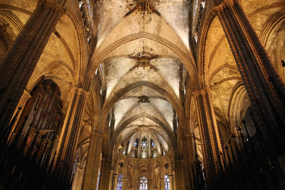 Interior of La Catedral, a gothic church in the heart of Barri Gothic