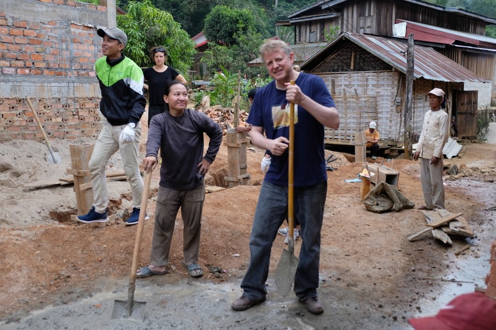 "Caught loafing on the job while ""chatting"" in Khmu with some villagers! They were teaching me how to say ""handle"" and ""shovel"" (dam and suen as I recall)."