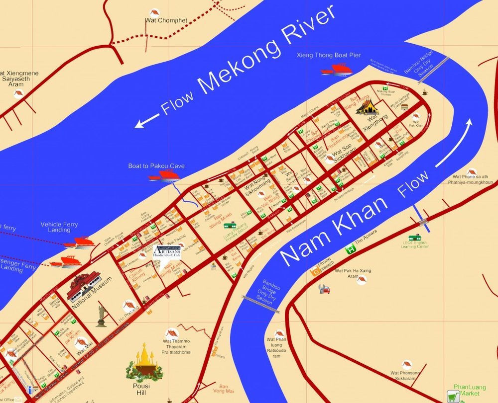 A map of Luang Prabang showing its location on a peninsula wedged in between two rivers, the Mekong and the Nam Khan.