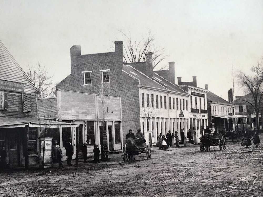 A photo of Concord's main street in the mid-19th century