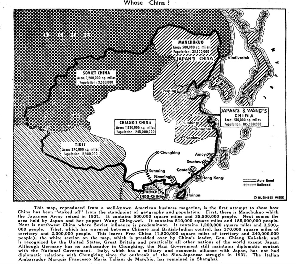 This useful map, showing the political and military divisions of China at the height of WWII, also accompanies the original article