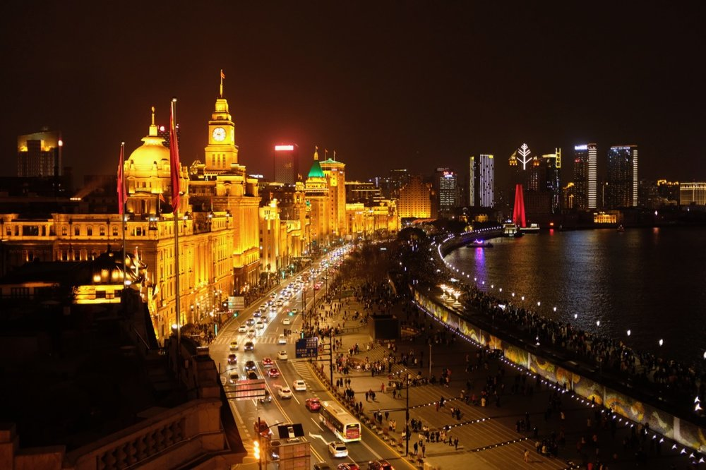 Looking northward out over the Bund from atop 3 on the Bund