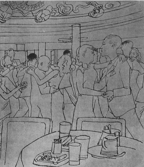 Dancers at the Metropole Gardens Ballroom in Shanghai, from an illustration published in  Liangyou Magazine  in 1936.
